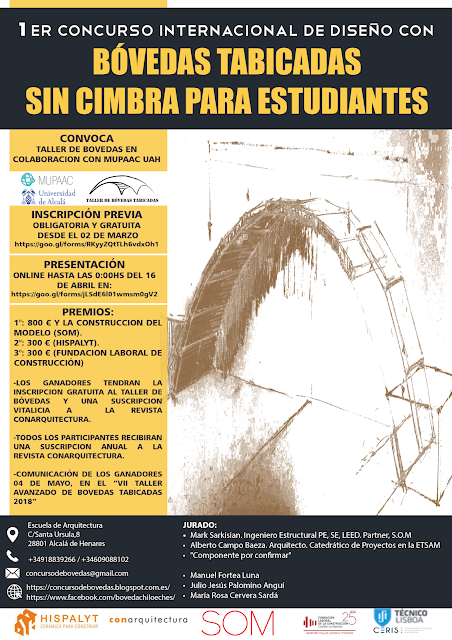Concurso internacional de diseño con bóvedas tabicadas Para estudiantes de arquitectura e ingeniería
