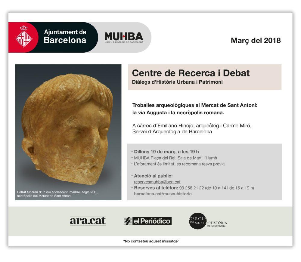 MUHBA: Troballes arqueològiques al Mercat de Sant Antoni: la via Augusta i la necròpolis romana