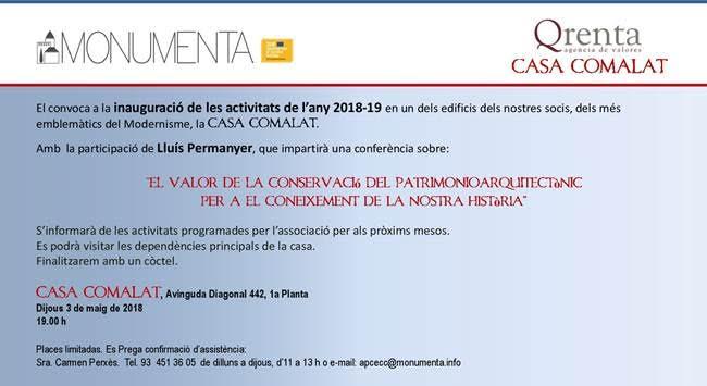 MONUMENTA: presentació any 2018 casa Comalat