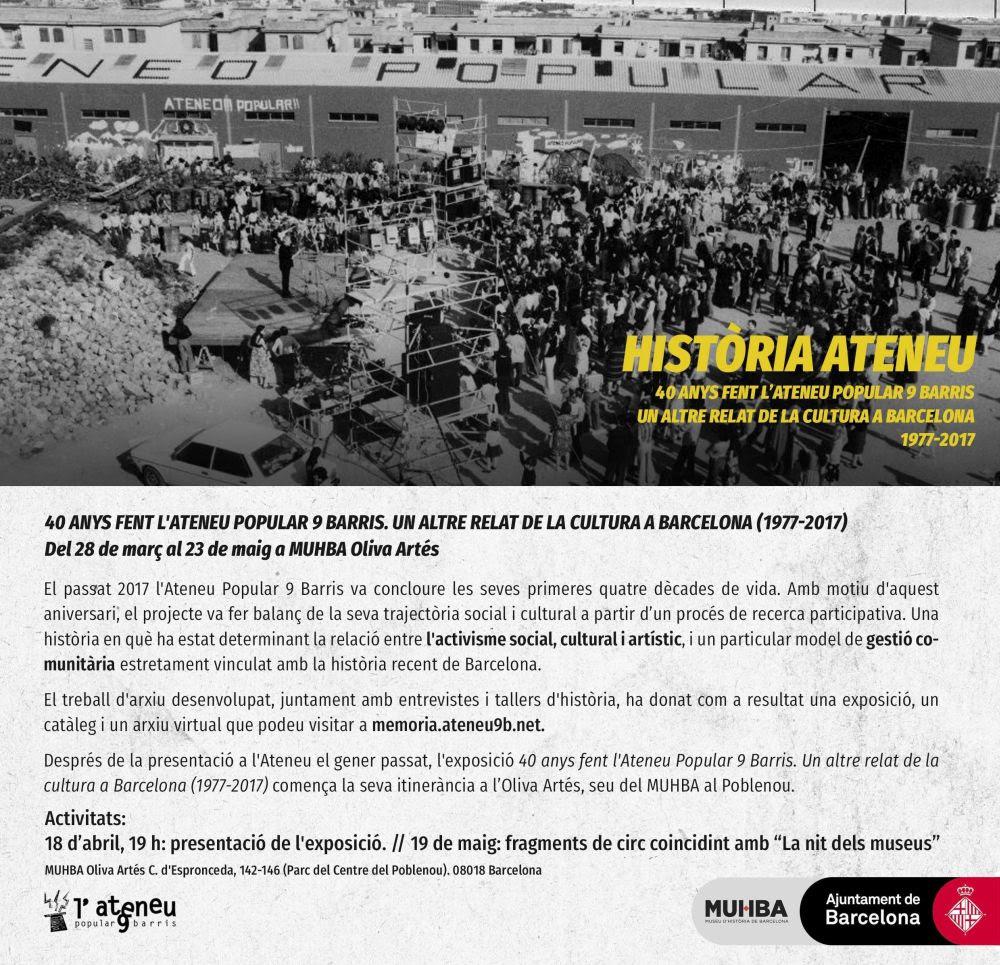MUHBA: Història Ateneu, 40 anys fent l'Ateneu Popular 9 Barris