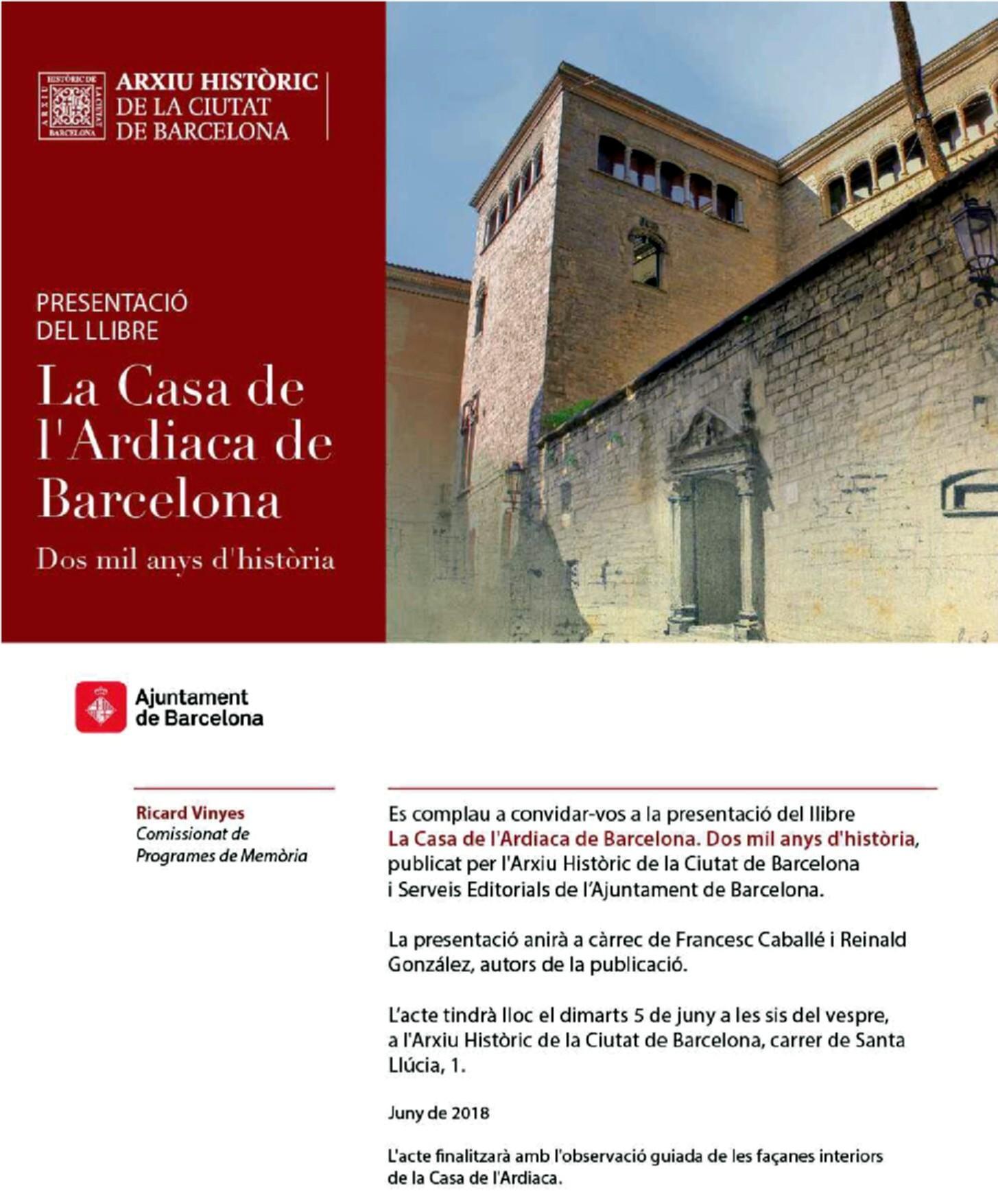 """Presentació del llibre """"La casa de l'ardiaca de Barcelona. Dos mils anys d'història"""""""
