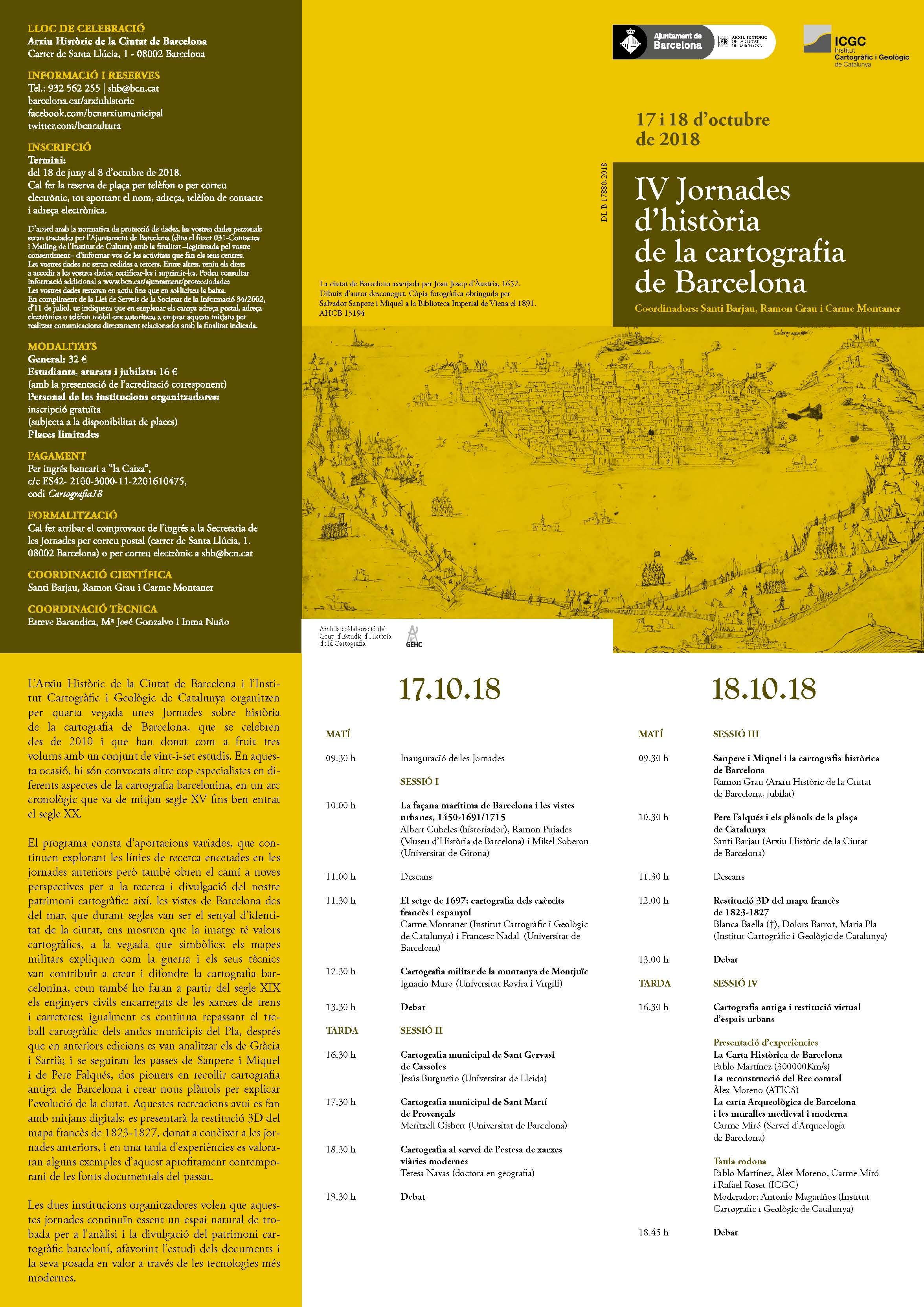 IV Jornades d'història de la cartografia de Barcelona